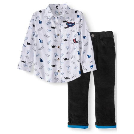 Brown Corduroy Boys Overalls - 365 Kids From Garanimals Print Button Down Shirt & Corduroy Pants, 2pc Outfit Set (Little Boys & Big Boys)