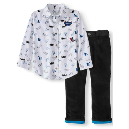 365 Kids From Garanimals Print Button Down Shirt & Corduroy Pants, 2pc Outfit Set (Little Boys & Big Boys)](Outfits From Different Decades)
