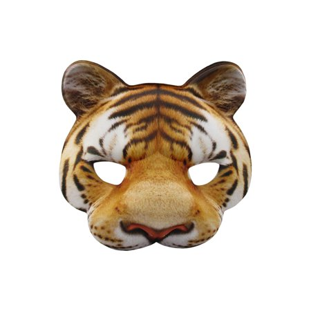 Tiger Half Mask Realistic Look Soft Foam Face Mask Halloween Costume Accessory - Painted Tiger Face For Halloween
