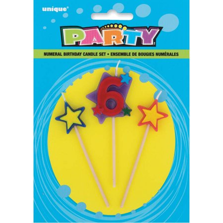 Stars Number 6 Birthday Candles Set 4 In Multicolor 3pc