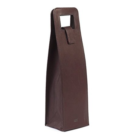 Claire Chase Cowhide Leather Wine Carrier, Bottle Holder in Cafe