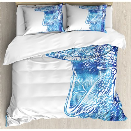 Iguana Duvet Cover Set, Watercolor Style Blue Animal Drawing Open Mouth Lizard Design Tropical, Decorative Bedding Set with Pillow Shams, Blue Pale Blue and White, by