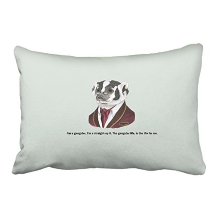 WinHome Skunk In Suit And Glasses Pillow Cover With Hidden Zipper Decor Cushion Two Side 20x30 inches