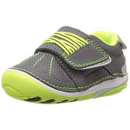 Stride Rite Infant/Toddler Soft Motion Booker Sneaker, Grey/Lime
