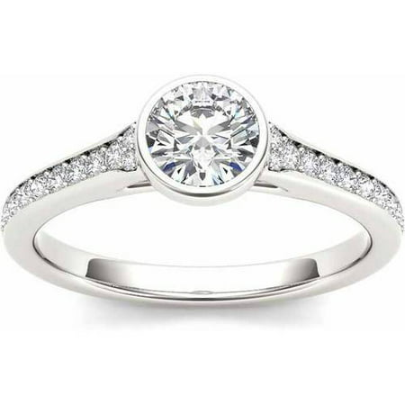 1 Carat T.W. Diamond Bezel Solitaire 14kt White Gold Engagement Ring