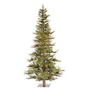 5 ft. Ashland Fir Slim Pre-lit Christmas Tree with Wood Trunk
