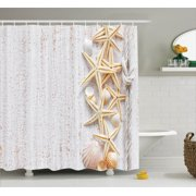 Seashells Decor Shower Curtain Set, Seashells And Starfish With Rope In Vertical Direction On Wood