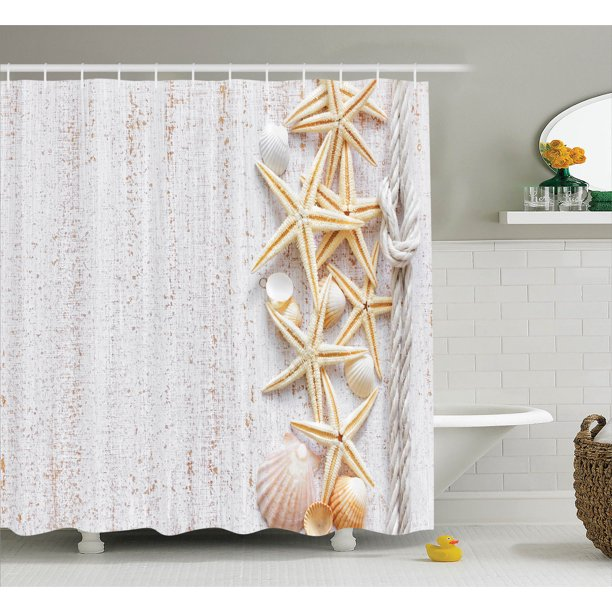 Seashells Decor Shower Curtain Set Seashells And Starfish With Rope In Vertical Direction On Wood Surface Ocean Marine Beach Theme Bathroom Accessories 69w X 70l Inches By Ambesonne Walmart Com Walmart Com