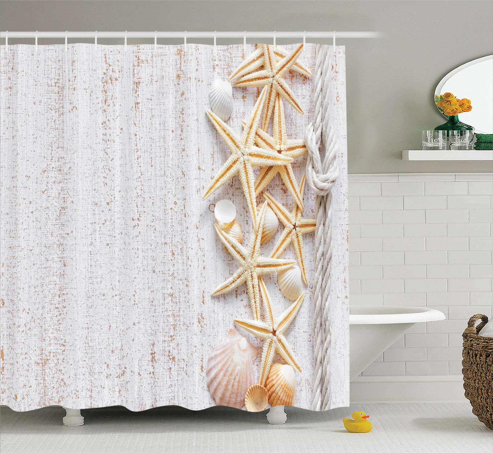 Superieur Seashells Decor Shower Curtain Set, Seashells And Starfish With Rope In  Vertical Direction On Wood
