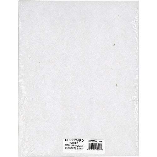 "Grafix Medium Weight Chipboard Sheets, 8.5"" x 11"", White, 25/pkg"