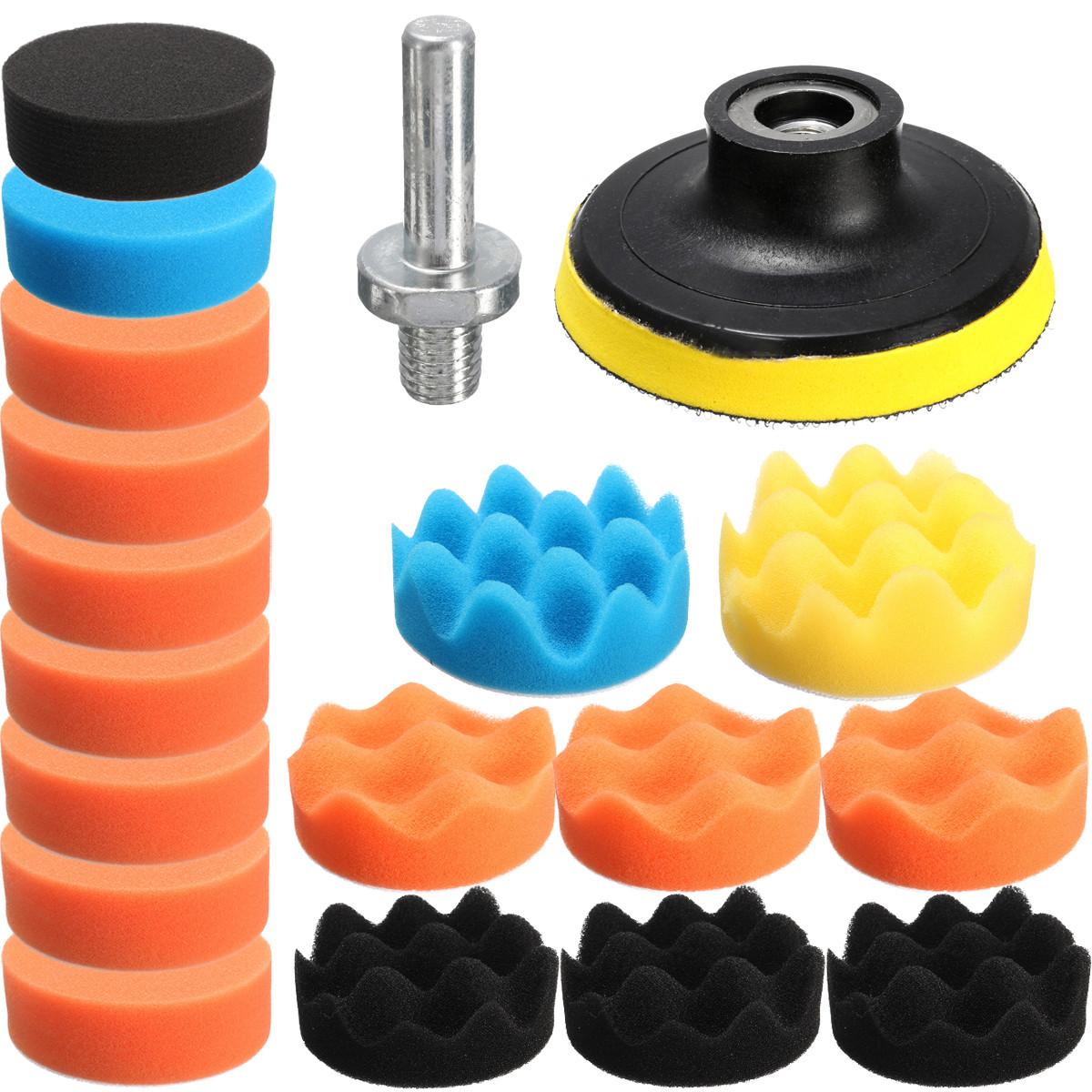 "Drillpro 19pcs 3"" Inch Sponge Polishing Buff Buffing Pad Kit Set For Car Polisher+Drill Adapter-M10"