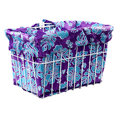 Cruiser Candy Reversible Bike Basket Liner, Fits All Standard Wire and Wicker Baskets (14x9x9in), Blue/Purple Hibiscus