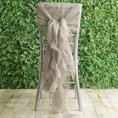 Brilliant Balsacircle Premium Curly Chiffon Chair Cover Cap With Sashes Wedding Party Ceremony Reception Decorations Cheap Supplies Ibusinesslaw Wood Chair Design Ideas Ibusinesslaworg