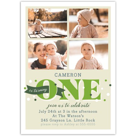 Banner Year Birthday First - Halloween First Birthday Photo Invitations
