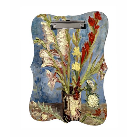 Van Gogh Vase of Gladioli and Chinese Asters - Benelux Shaped 2-Sided Hardboard Clipboard - Dry Erase Surface