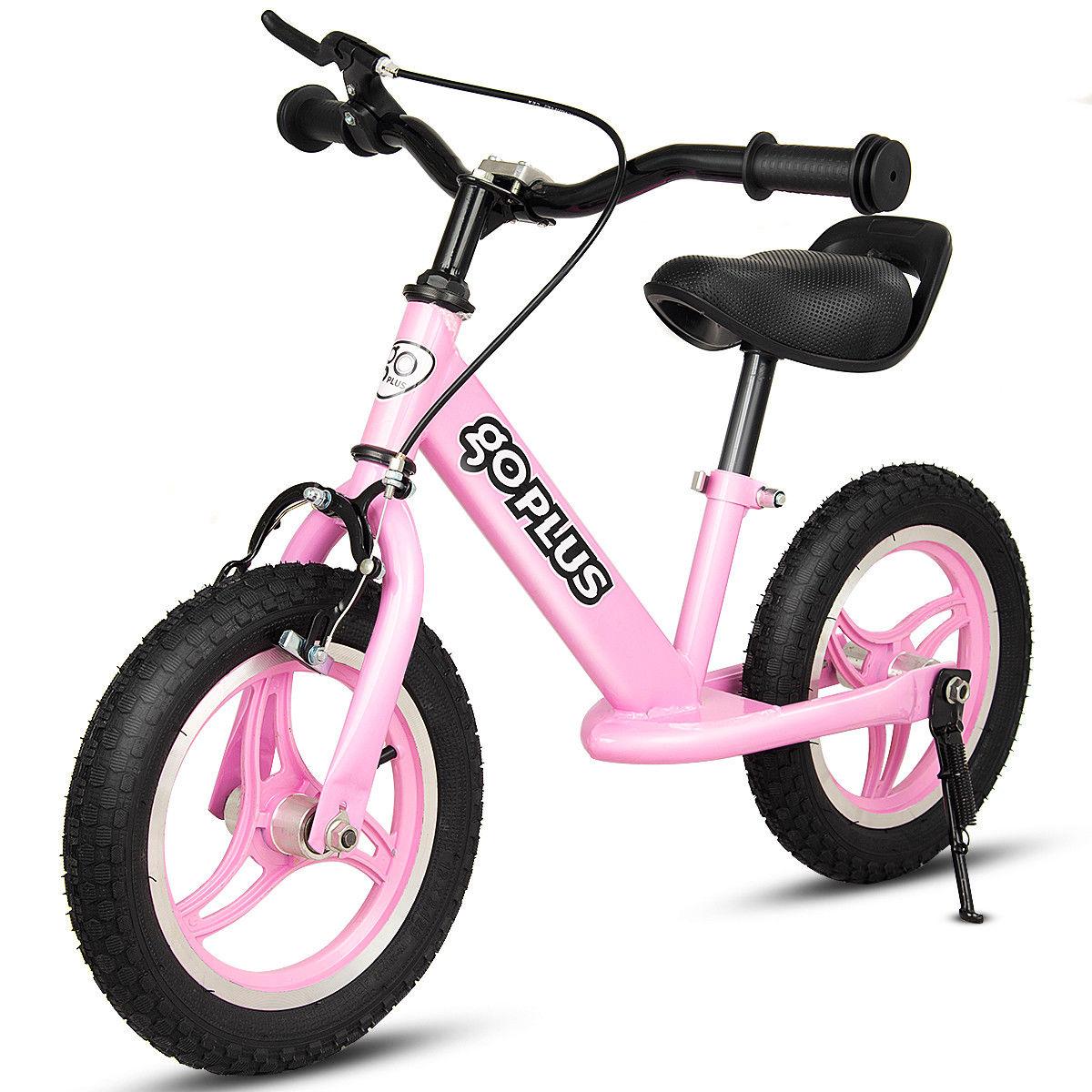 Goplus 12'' Kids Balance Bike W/ Kickstand Brake Cycling Outdoor Sports Learn To Ride