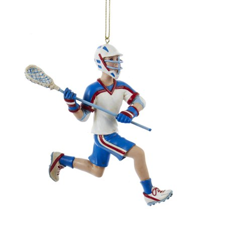 Pack of 6 Blue and White Boy Running Lacrosse Players Christmas Ornaments 5