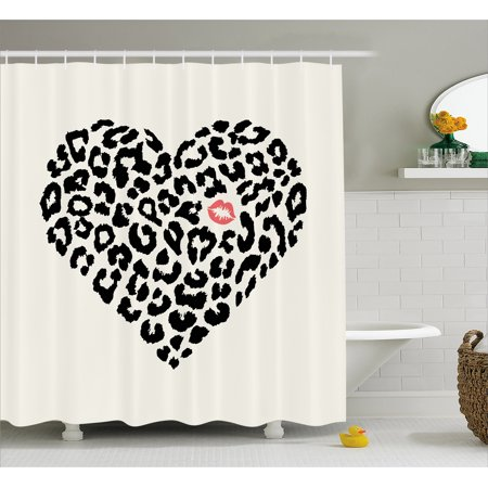 Kiss Shower Curtain, Heart Shape Wild Leopard Skin Pattern and a Kiss Mark Valentine