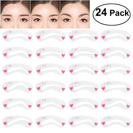 NUOLUX 24pcs Eyebrow Stencil Set Diverse Shapes Plastic Eye Brow Shaping Template Stencils Kit for Makeup - Day Of The Dead Makeup Stencils