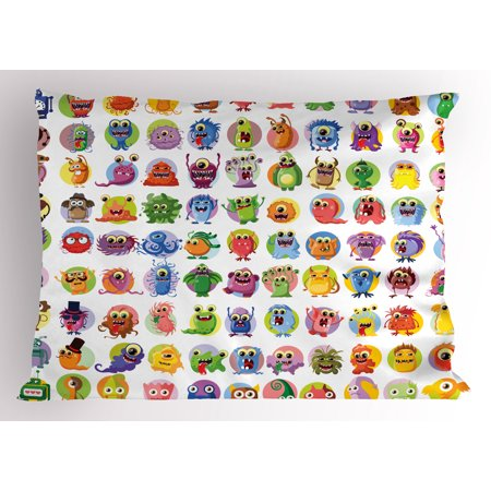 Animation Pillow Sham Cute Little Graphic Baby Mosters Great For Kids Nursery Room Colored Cartoons Art