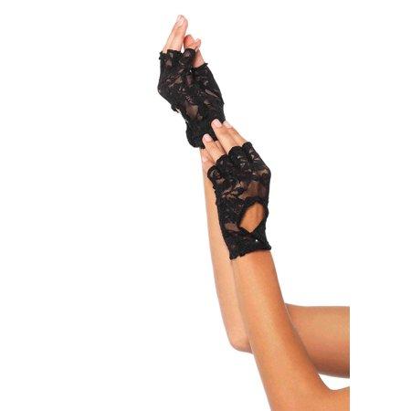 - Women's Lace Keyhole Fingerless Gloves, Black, One Size
