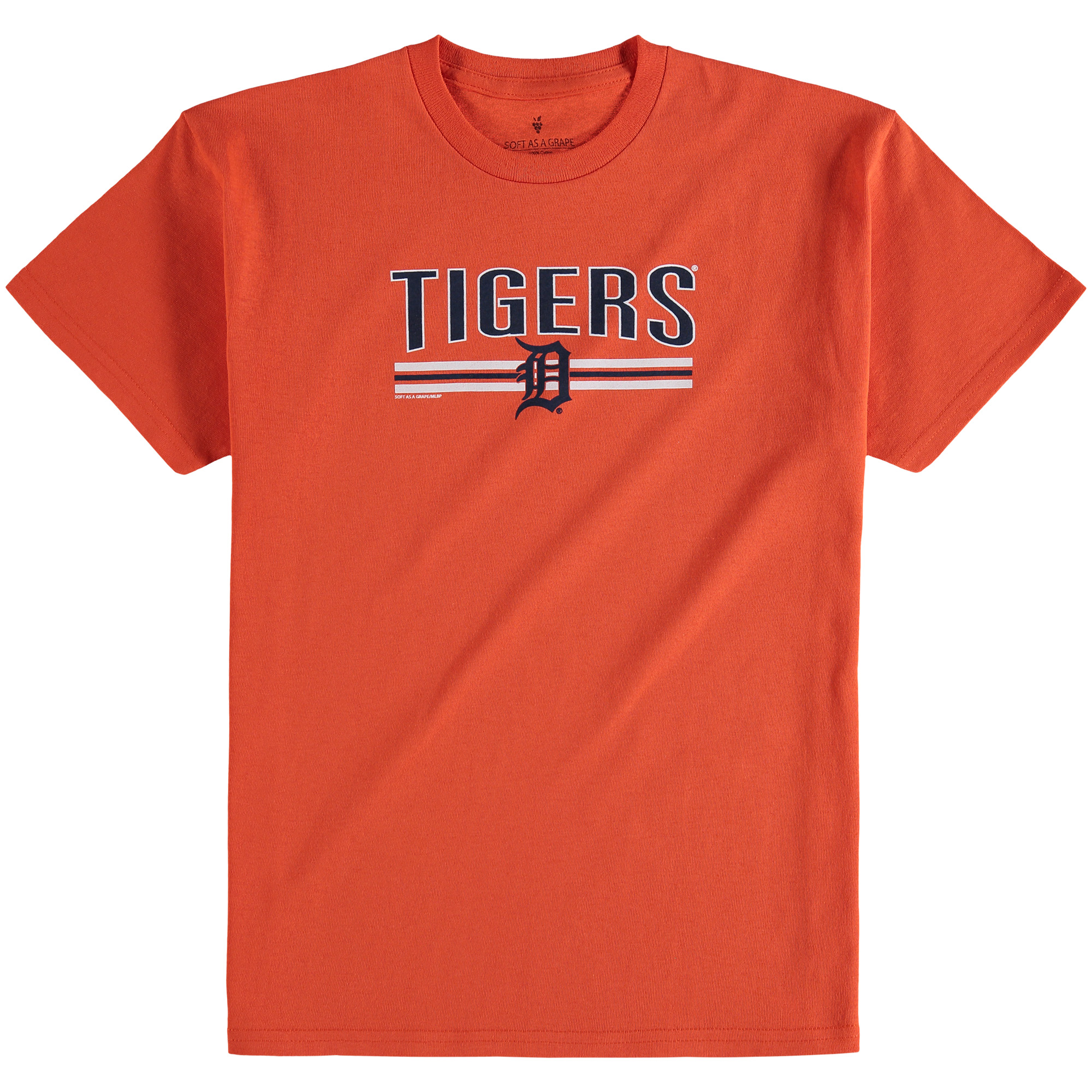Youth Soft as a Grape Orange Detroit Tigers On Base Crew T-Shirt
