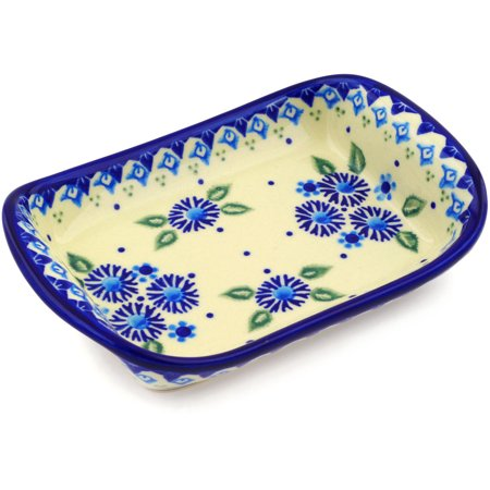 Polish Pottery Stoneware Cross (Polish Pottery 7½-inch Platter with Handles (Aster Patches Theme) Hand Painted in Boleslawiec, Poland + Certificate of Authenticity )
