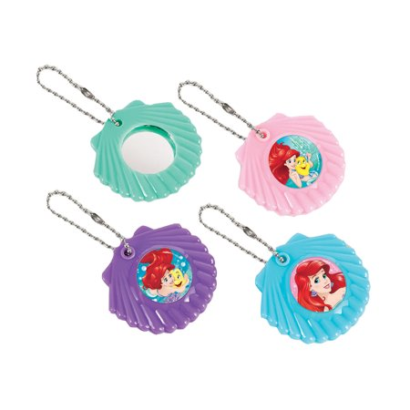 Little Mermaid Shell Mirror Keychain Favors (12 Pack) - Party Supplies - The Little Mermaid Party Theme