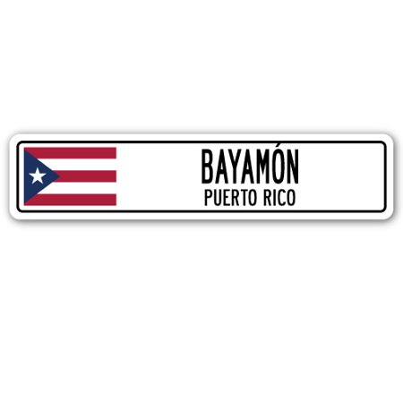 BAYAMON, PUERTO RICO Street Sign Puerto Rican American flag city country