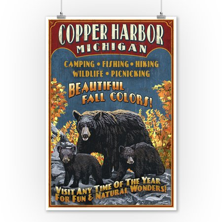 Copper Harbor, Michigan - Black Bears Vintage Sign - Lantern Press Poster (9x12 Art Print, Wall Decor Travel Poster)