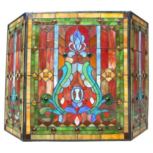 Chloe Lighting Victorian Stained Glass Fireplace Screen by Overstock