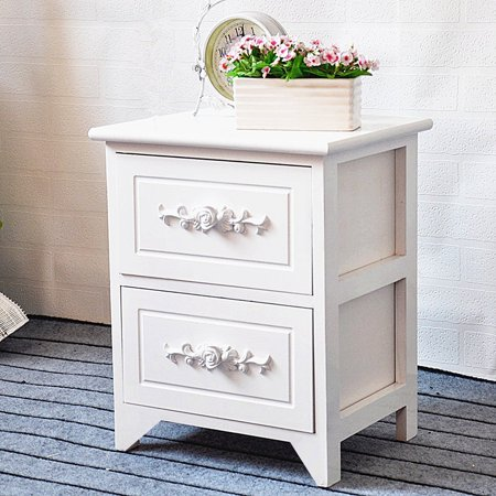 JERRY & MAGGIE - 2 Drawer White Nightstand Curving Flower Pattern Night Stand Storage Bedside Table Real Natural Paulownia Wood (2 Tier | Flower Curving) 2 Drawer Square Nightstand
