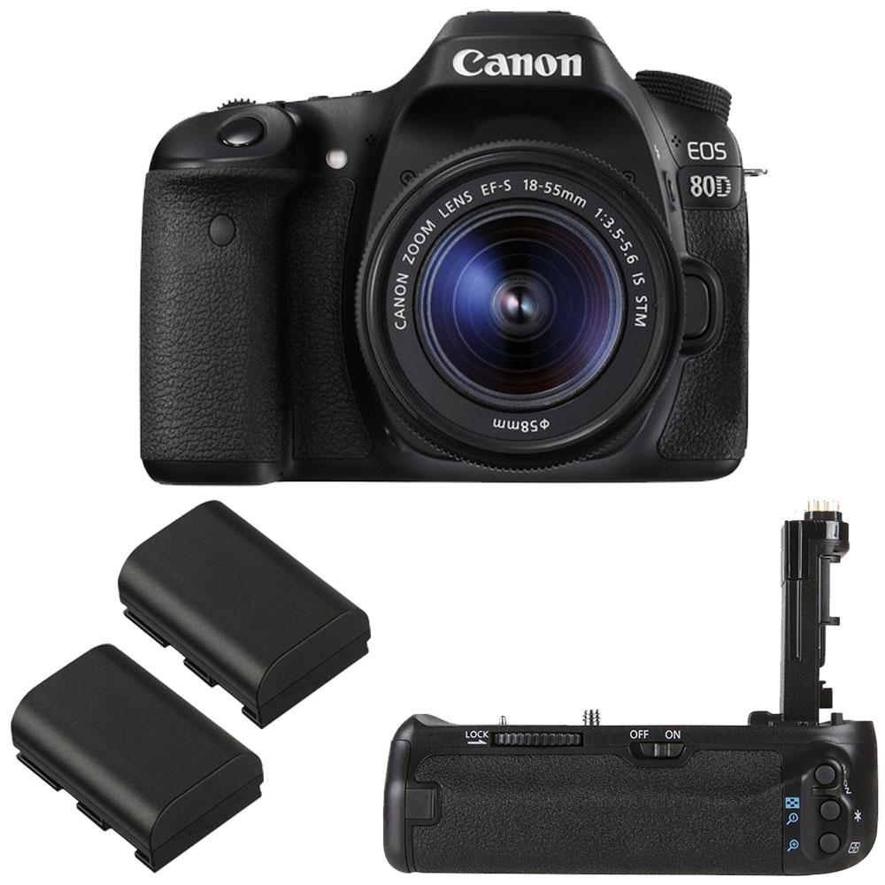 Canon EOS 80D Digital SLR Kit with EF-S 18-55mm f 3.5-5.6 IMage Stabilization STM Lens (Black) + Vivitar... by Canon