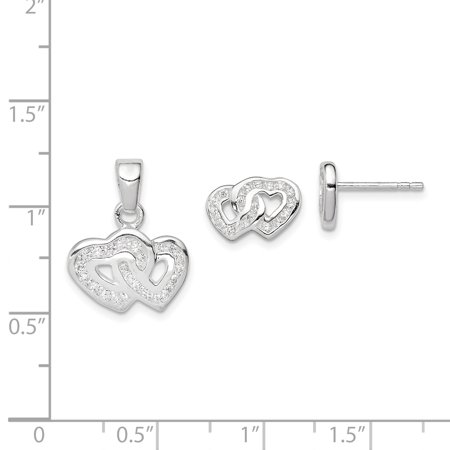 925 Sterling Silver Double Heart Shaped Cubic Zirconia Pendant and Earring Set - image 2 of 4