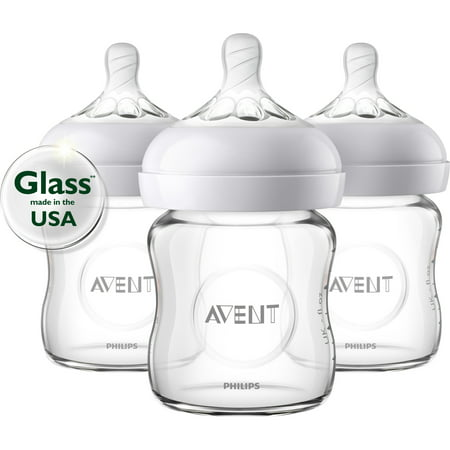 Philips Avent Natural Glass Baby Bottle, 4oz, 3pk, SCF701/37