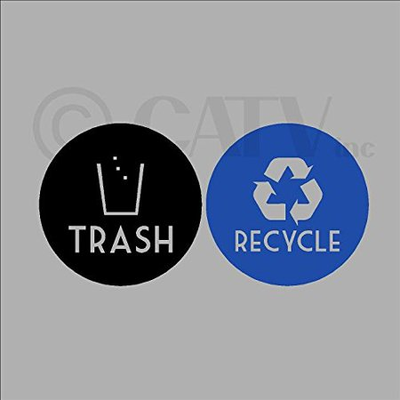 Black Lettering (Recycle and Trash Vinyl Lettering Decal Sticker (4