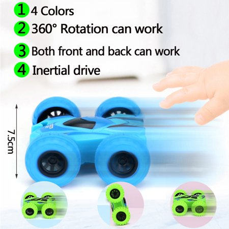 Cars Toys for Kids Pull Back 4 Wheels Drive Trucks Toys with Damping Spring 360 Degree Rotation Car Set 4 Pack Toy Cars for Toddlers Double Side Baby Car - image 5 de 6
