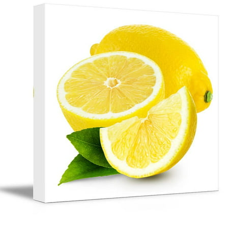 Canvas Prints Wall Art - Fresh Lemon Fruits Photograph | Modern Wall Decor/Home Decoration Stretched Gallery Canvas Wrap Giclee Print & Ready to Hang - 16
