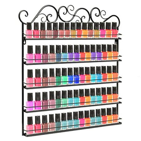Professional Black Metal Nail Polish Mountable 5 Tier Organizer Display Rack - MyGift®