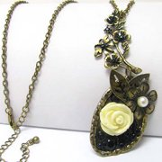 """Vintage Style Flower Pendant with 30"""" Adjustable Extra-Long Sweater Necklace"""