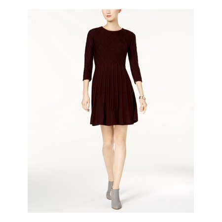 JESSICA HOWARD Womens Purple Patterened Knit Long Sleeve Jewel Neck Above The Knee Fit + Flare Dress  Size: