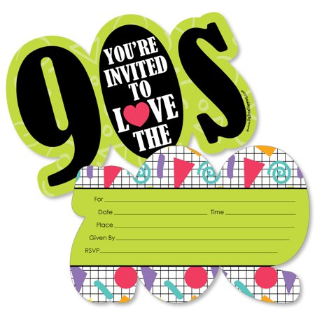 90's Throwback - Shaped Fill-In Invitations - 1990s Party Invitation Cards with Envelopes - Set of 12 for $<!---->