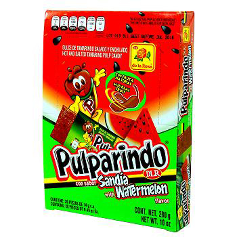 Pulparindo Hot and Salted Tamarind Pulp Candy with Watermelon Flavor, 10 oz b...