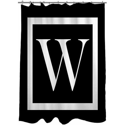 MWW, Inc. Thumbprintz Classic Block Monogram Black Shower Curtain, 71 x 74