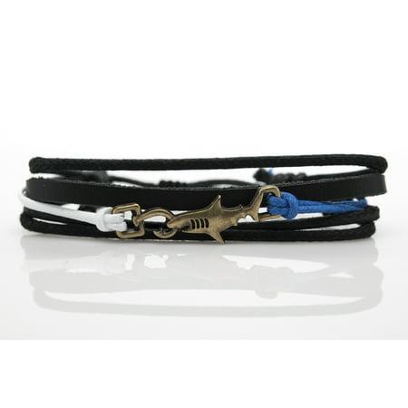 Shark Hook White Blue Rope and Black Leather Adjustable Unisex Charm Bracelet - Shark Tooth Bracelet