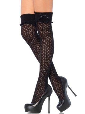 Women's Acrylic Crochet Over The Knee Socks with Turn Over Cuff, Black, One Size