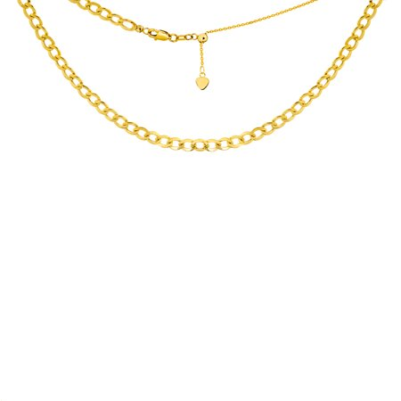 "14K Yellow Gold Curb Chain Choker Necklace. Adjustable 10""-16"""