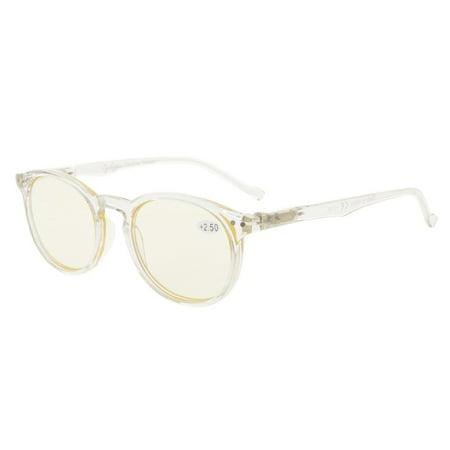 Eyekepper Retro Oval Round Spring-Hinges Eyeglasses Clear Frame ...