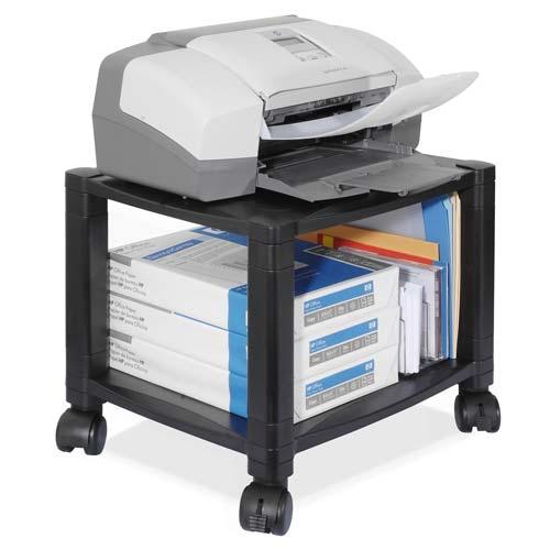 "Kantek Mobile Printer Stand, Two-Shelf, 17"" x 13-1/4"" x 14-1/8"", Black"