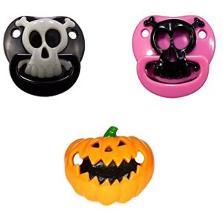 Billy Bob Baby Pacifier, 3 Pack (Black Pirate Skull, Pink Pirate Skull, & Lil - Pumpkin Pacifier